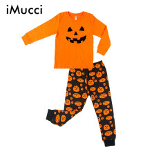iMucci Halloween Pumpkin Children kids Pajamas Outfits Set Baby Boys Sleepwear Pumpkin Long Sleeves Pajamas 2pcs(China)