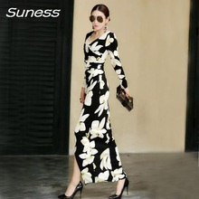 Women dress 2017 Spring Autumn Elegant Floral Printed Casual Party Long Sleeve skinny Charming Long Maxi dinner dresses ladies
