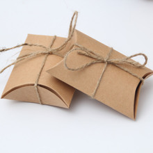 100Pieces/lot Kraft Pillow Shape Wedding Favor Gift Box Party Candy Box Wholesales Pillow boxes Wedding Favors and Gifts Box wit