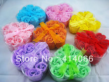 gift washing cleaning bath rose Flower paper petals soap gift organtic wedding favor mulit color 9pc/set bowknot free shipping3#