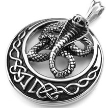 Mens Tribal Cobra Snake Stainless Steel Pendant Necklace Black Silver send 22 inch Chain Drop Shipping