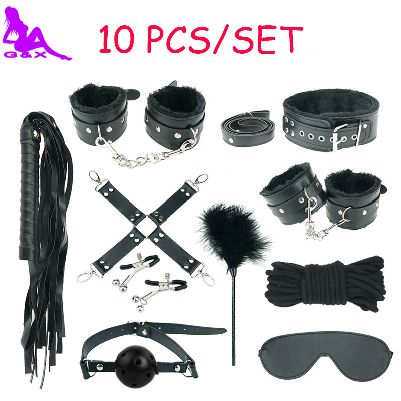 10 PCS Black Sex Bondage Kit Fetish Restraint Leather Adult Games Toys Collar Hand-legcuffs Gag Rope Nipple Clamps Whip Mask<br>