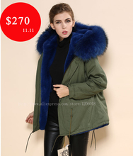 2015 Winter real fur coat,faxu fur liner,wholesale factory cheap price supplier,deep blue large collar parka