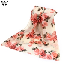 2017 New Summer Rose Womens Voile Long Scarves Beach Chiffon Shawl Scarf Amazing(China)