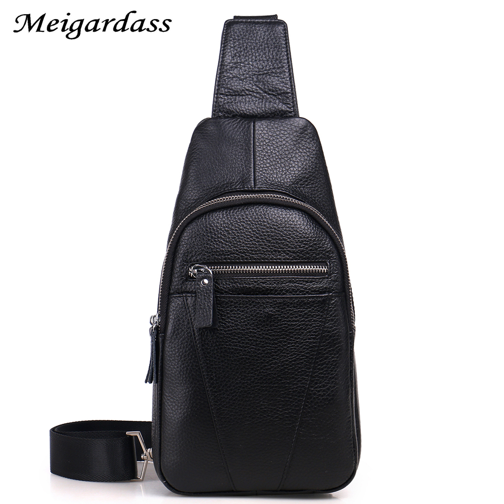 100% Genuine Leather Men Shoulder Bag Fashion Oil Wax Leather MenS Crossbody Chest Pack Shoulder Messenger Travel Bags #108<br>