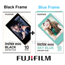 Genuine Fujifilm Fuji Instax Mini Film Sky Blue Frame + Black Film for Mini 8 70 8 Plus 90 25 Camera SP-1 SP-2 Plus Free Gift