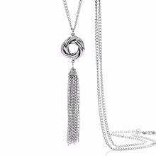 26c5bb12e279 Onnea tono plata largo precioso nudo la borla collar suéter cadena colgante  borla Collares para las mujeres nuevo modelado joyer.