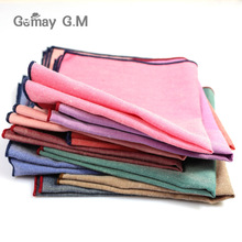 Brand Casual Men's Cotton Handkerchiefs Woven Candy color Pocket Square Male Wedding Party Handkerchief Sold Towels Hanky