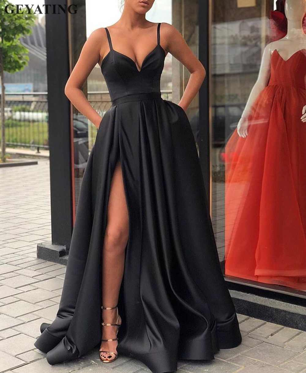 42c1b1bf7b8c Sexy Spaghetti Straps Black Long Prom Dress with Pockets A-line Satin High  Side Slit