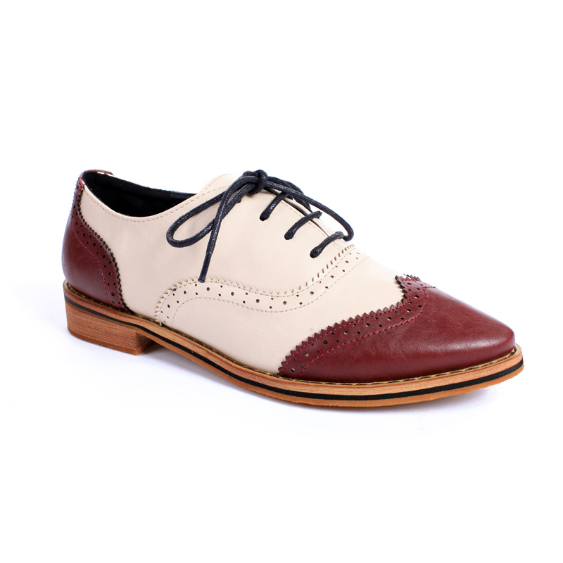 British Style Women Oxfords Shoes Pointed Toe Leather Brogue Shoes Carve Lace Up Casual Shoes Woman Flats Zapatillas XK032912<br>