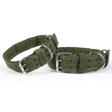 2016 New Army Green Canvas Pet Dog Collar for Large Dogs Collars Double Row Buckle Design Strong and Durable Pet Products