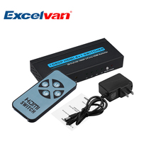 Excelvan T-500 3D 4K*2K 1080P 4 Ports 4 x 1 HDMI Switch with IR Remote Control 4 ways HDMI SWITCHER Support HDCP US Plug(China)