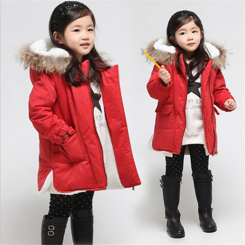 Girls Winter Coats 2017 Fashion Fur Hooded Warm Girl Solid Red Thick Cashmere Jacket Down &amp; Parkas Childrens Clothing<br>