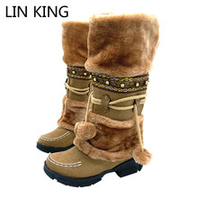 LIN KING Fashion Half Over Knee High Snow Boots Women Platforms shoes beaded Furry Warm Winter Boots free shipping size 35-40(China)