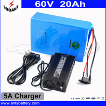 Lithium Rechargeable Battery 60V 20Ah Electric Bike Battery 60V For 2000W Motor With 5A Charger Built-in 50A BMS Free Shipping
