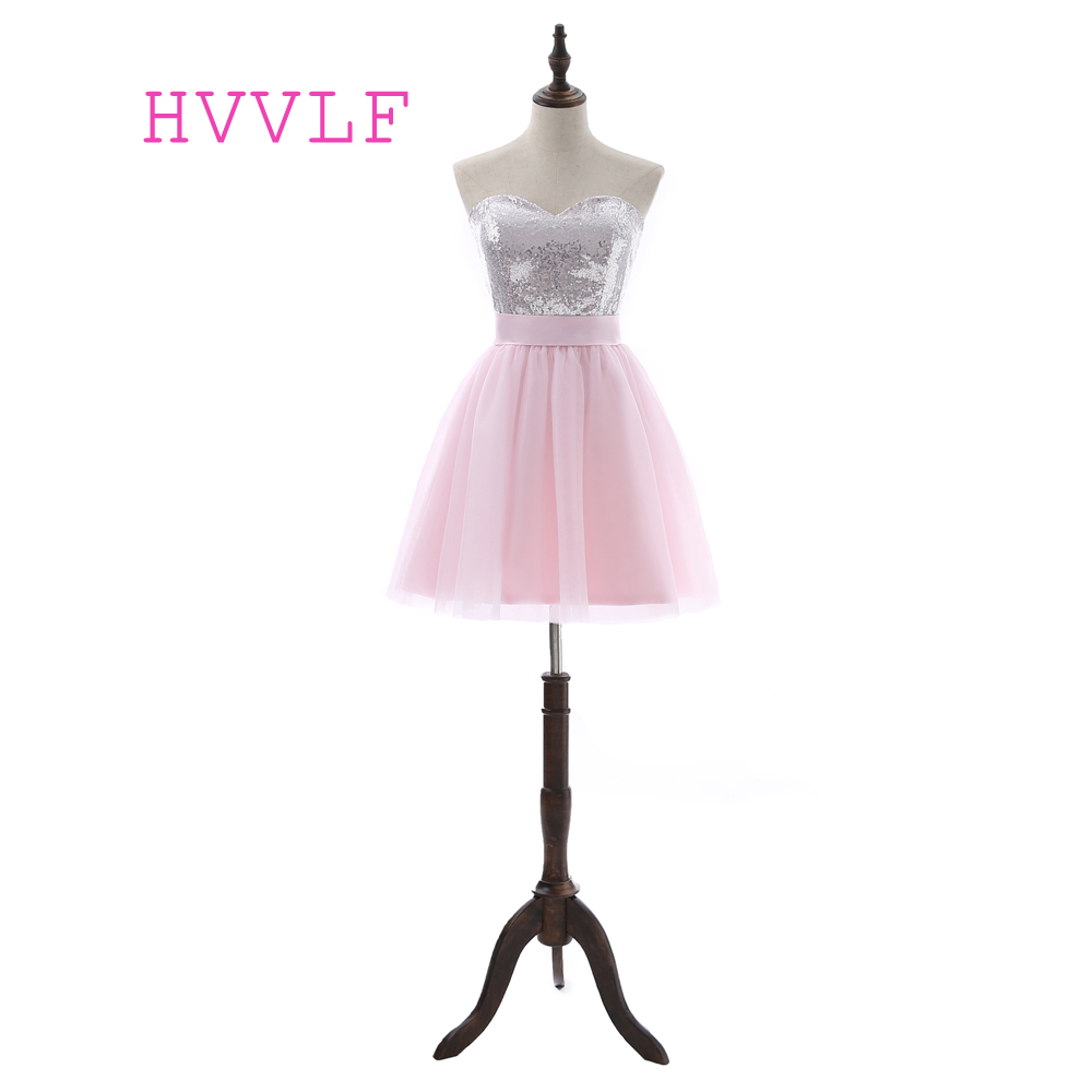 Elegant 2019 Homecoming Dresses A-line Sweetheart Short Mini Pink Tulle Squins Bow Cocktail Dresses