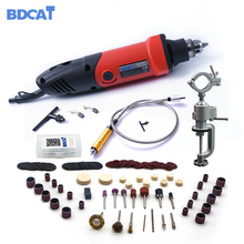 BDCAT 400W mini drill engraver Rotary tool Electric Mini Angle Grinder Dremel Tool with 0.6-6.5mm flexible shaft and accessories(China)