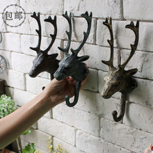 American Rural deer head hook cast iron coat hook bedroom bedroom wall decoration loft industrial wind