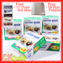 100 Sheets Fujifilm Instax Wide VALID UNTIL 2019-2 +Free 1 Wall Album 100 Photo Protector For Polaroid Instax Camera 300 200 210