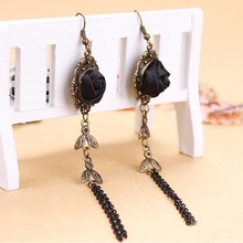 Fashion 1 Pair Women Gothic Victorian Style Handmade Black Rose Lace Earrings Vintage Drop Earrings