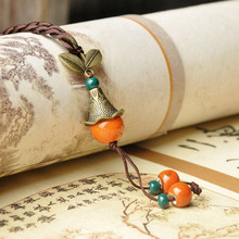 orange copper ceramic Handmade Necklaces Water Drop Chinese style Pendant Fashion classic rope chain folk style Ethnic