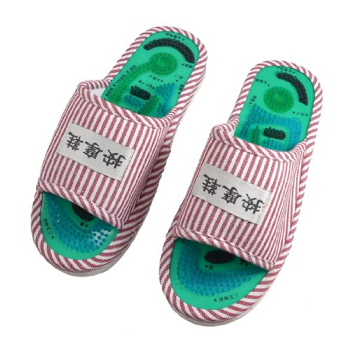 JEYL Hot New New Ladies Striped Health Care Foot Acupoint Massage Flat Slippers in Pair<br><br>Aliexpress