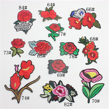 1 Pc Brand Flower Patches Big Stickers Embroidery 3D Red Rose Applique Motif Applique Garment Women DIY Clothes Wedding Patch(China)