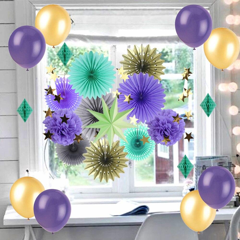 22pcs(Mint Lavender Gold) Paper Decoration Set Tis...