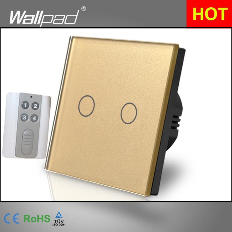 2 Gang Remote Wallpad Luxury Gold Touch Crystal Glass 2 Gang RF433 Remote Control Electrical Button Switches Free Shipping<br><br>Aliexpress