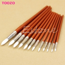 12Pcs Fine Red Pearl Wooden Paint Acrylic Watercolor Oil Painting Artists Brushes #G205M# Best Quality