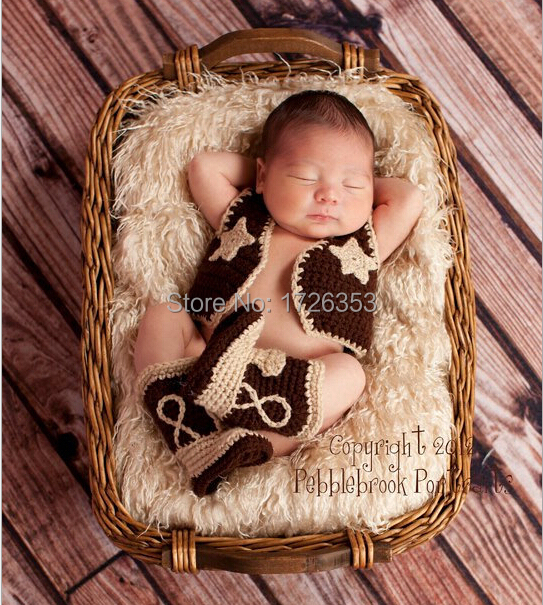 2015 New Baby clothing Cowboy Boots and Vest Set Crochet Pattern Infant Costume Outfit Knitted Newborn Photography Photo Prop(China (Mainland))