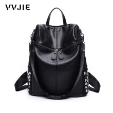 VVJIE Brand Women Backpacks Rivet Black Soft Washed Leather Bag Shoulder Schoolbags For Girls Female Casual Bag mochilas