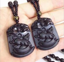 Imitation of obsidian Zodiac mouse pendant necklace for men women fashion jewelry long beads chain glass animal mouse necklace(China)