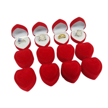Wholesale 24Pcs Romantic Velvet Birthday engagement Ring Box Red Heart Shaped Valentine's Day Ring Gift Box Velvet Ring Box(China)