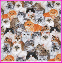 105*50cm 1pc Cat Fabric 100%Cotton Fabric Patchwork Telas Lovely Group Cats Print Fabric Sewing Material DIY Clothes Quilting