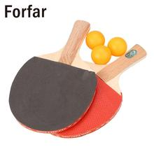 Forfar 1 Pair Table Tennis Racket Professional Ping Pong Paddle Bat W/3 Balls Sports Training Short Handle