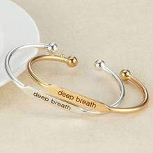 10pcs/lot Engraved DEEP BREATH Positive Inspirational Quote Hand Stamped Cuff Mantra Bracelet Bangle For Women Jewelry(China)