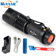 RU Mini penlight 2000LM Waterproof LED Flashlight Torch 3 Modes zoomable Adjustable Focus Lantern Portable Light use AA or 14500(China)