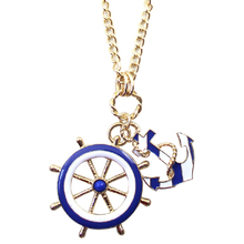 2015 New Fashion Navy Blue Enamel Oil Anchor Rudder Pendants Long Necklaces For Women Dress Bijoux N-12(China)