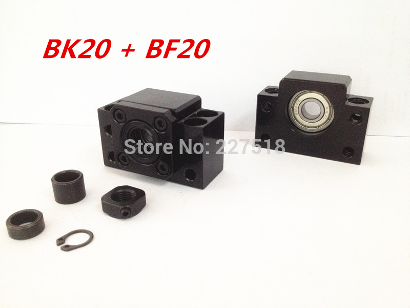 Ballscrew End Supports1pcs BK20 + 1pcs BF20 2505 2510 ballscrew End Support CNC Parts for SFU2505 SFU2510<br>