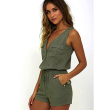 2017 Fashion Women Sexy Jumpsuits Women Sleeveless Zipper Pocket Casual Podysuits Women Short Overall Female Green Khaki  #824