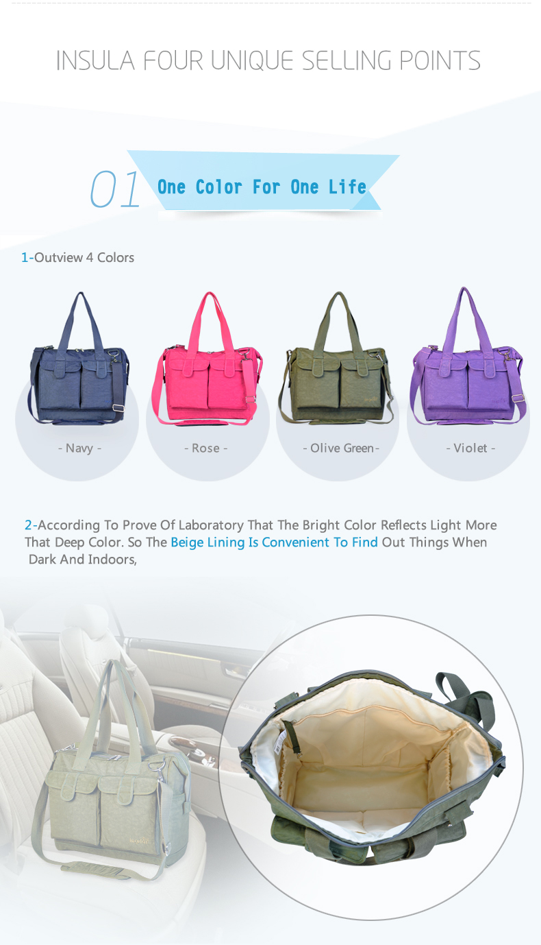 Solid Diaper Bag Large Capacity Multifunction Waterproof Nappy Bag Set Casual Shoulder Diaper Bags Stroller Bag for Mother