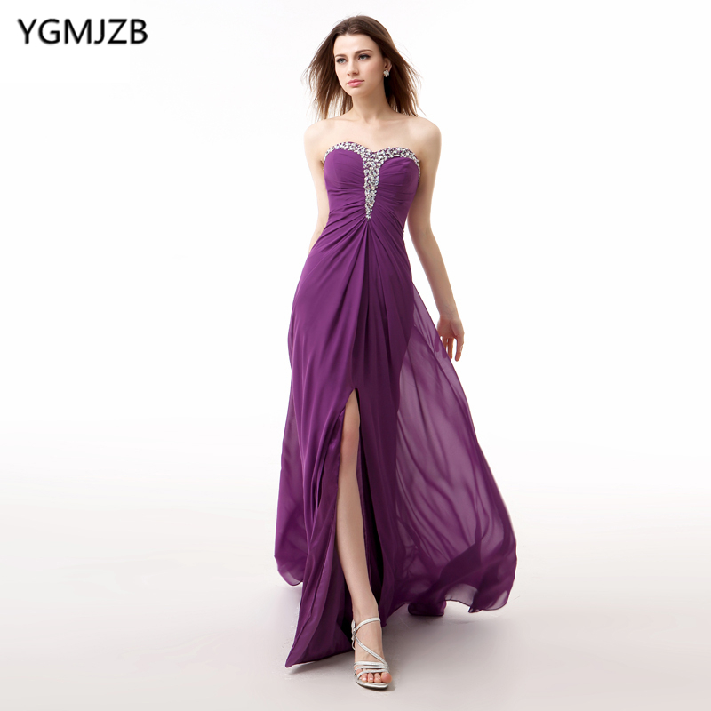 Purple Evening Dresses Long 2018 A-Line Sweetheart High Split Beaded Chiffon Prom Dress Backless Evening Gown Robe De Soiree