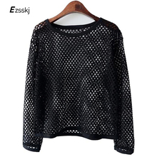 Fashion Women's Ladies Misses Sexy Black Perspective Hollow Mesh Shirt Loose T-shirt Long Sleeve Sheer Slim Basic Tops