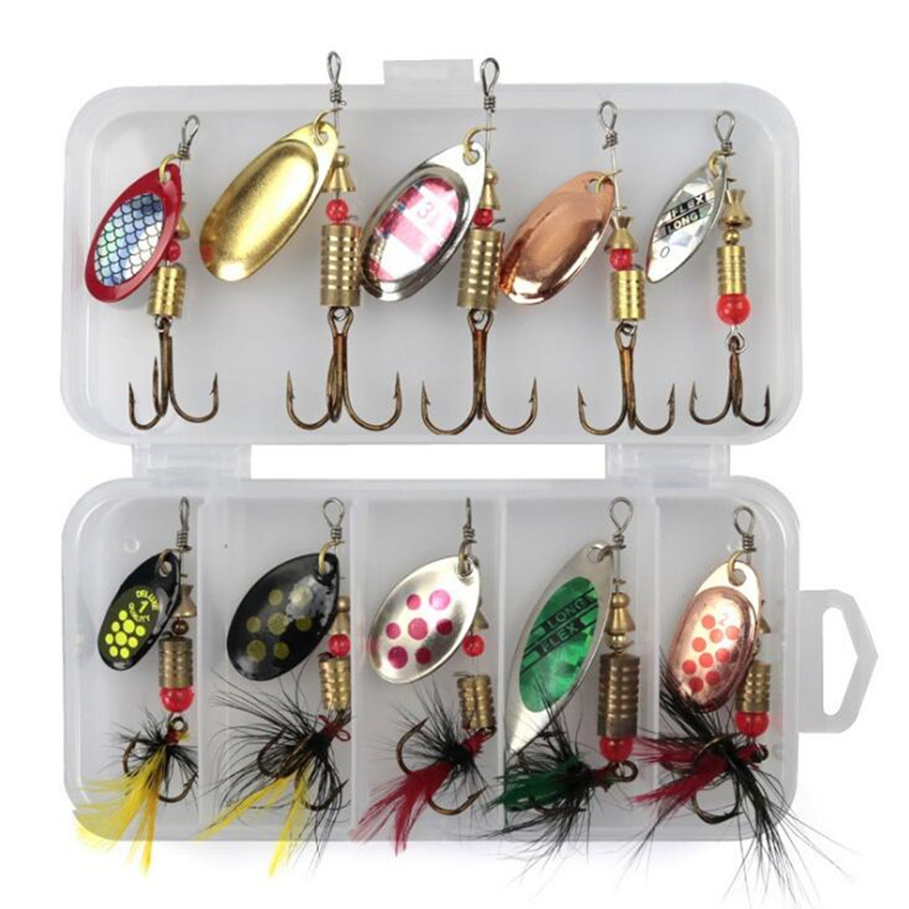 10Pcs//Set Metal Spoon Fishing Lures Spoon Hard Bait Tackle Accessories Outdoor