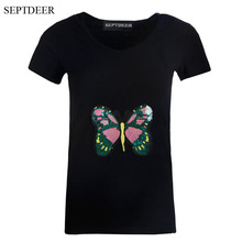 SEPTDEER Europe V Collar Short Sleeved Cotton Tops Sequin Butterfly T Shirt Paillette Women's Clothing LP52015