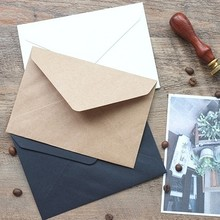 50pcs/set Vintage  Brown White black Kraft blank mini paper window envelopes wedding invitation envelope /gift envelope/3 color