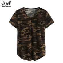 Dotfashion V-Neck Camo Tops Summer 2016 Female Tees Casual Street Wear Loose Olive Green Short Sleeve T-shirt