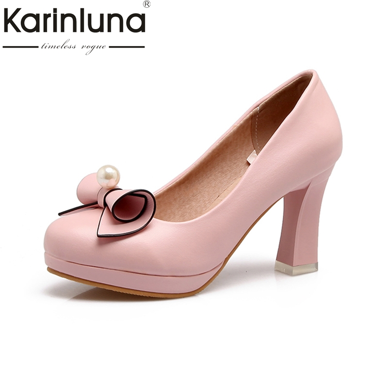 KARINLUNA Top Quality 2018 Large Size 30-44 Slip On Platform Women Shoes Woman Fashion Bowtie Chunky Heels Woman Pumps<br>