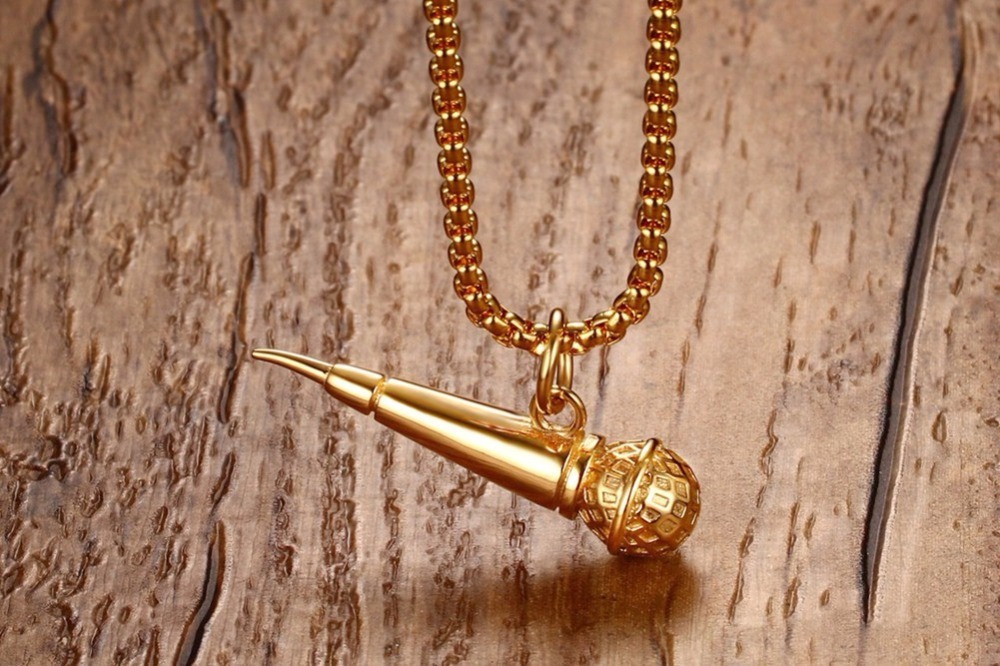 Mens Gold Plated Microphone Pendant Necklace Rock Punk Jewelry 13